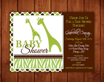 Giraffe Baby Shower Invitation Prints or  Digital File