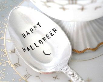 Happy Hallowen Hand Stamped - Halloween Decor and Party - Hand Stamped Teaspoon -  Happy Halloween with Moon