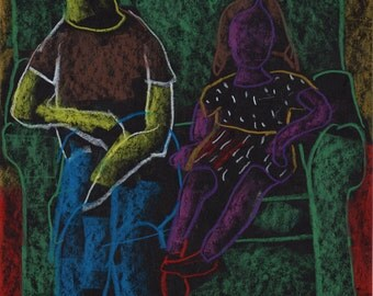 Original Drawing - 'Daughter + Dad on Couch' by Peter Mack