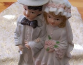 """Vintage 60's """" VICTORIAN"""" Wedding Cake TOPPER - Bride and Groom Hand Painted Figurine by Simson"""