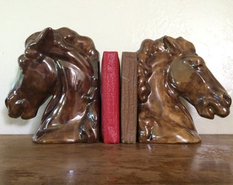 Large Ceramic Horse Head Bookends