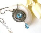 Aquamarine Swarovski Crystal Necklace  - Victorian Silver Pendant - Victorian Gothic Jewelry