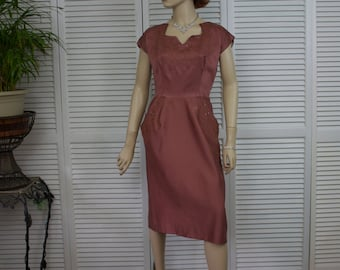 Vintage 1940s Dress Copper Metal Side Zip Embellished Size Small/Medium