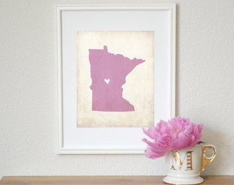 Minnesota Rustic State Map. Personalized Minnesota Map. Minnesota Wedding Map. Wedding Gift. Anniversary Gift. Art Print 8x10.