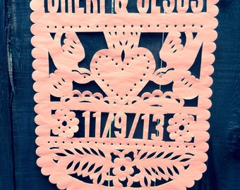 Sacred Heart Papel Picado Wedding Banner with Names & Date
