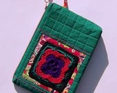 Granny Square Bag, Zip Clutch, Makeup Pouch, Quilted Bag, Turquoise, Purple