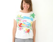 Vintage Tropical Tee Shirt Puff Ink Palm Tree Tee Palm Tree T Shirts Tropical Scene T Shirt Bright Colors