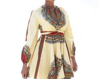 THE ZHARA Dashiki Dress in Cream