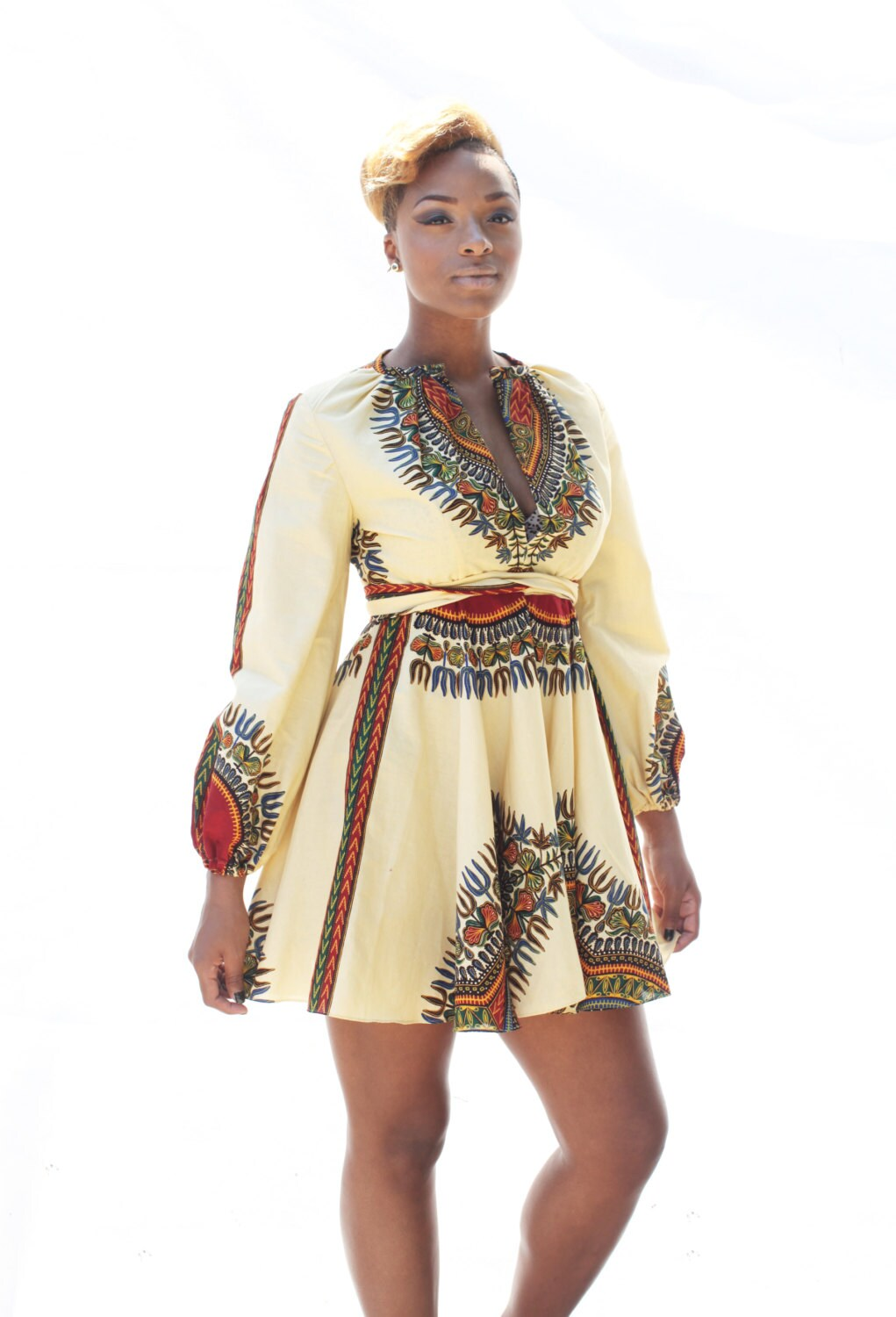 THE ZHARA Dashiki Dress in Cream