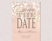 Printable Save the Date Invitation - Gold and Blush Bokeh