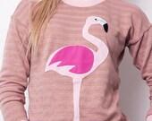 womens sweatshirt, flamingo sweatshirt, flamingo, pink sweatshirt, appliqued sweater, summer, summer sweater, pink sweater