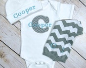 Baby Boy Monogram Personalized Gray Chevron Bodysuit or Gown With Leg Warmers Personalized Hat Option Newborn Take Home Outfit Baby Boy Gift