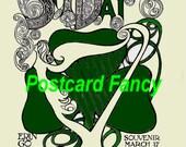 ST PATRICKS Art Nouveau Vintage Postcard Image 1906 Digital Download, Vintage Illustration