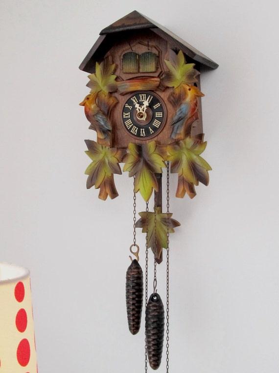 Vintage cuckoo clock hand carved wooden cuckoo wall clock - Wooden cuckoo clocks ...