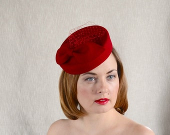 Red Felt Pillbox Hat with Veil - Red Fascinator - Red Cocktail Hat with Bow and Veil