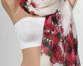 NEW Scarf , shawl.  Holiday scarf , beach wrap , pareo. CREAM and  Red  and Burgundy flowers long scarf shawl. Floral large scarf.