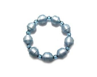 Paper Bead Bracelet - Light Blue Bracelet - Paper Beads - Ice Blue Bracelet - Handmade Beads - Blue Bracelet, Free Shipping