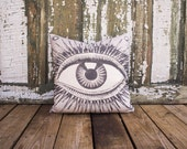 Eye Pillow, Charcoal Throw Pillow, Industrial, Curious Collector