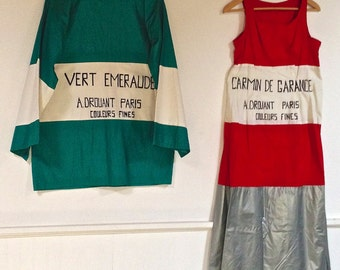 PAIR of  FRENCH COSTUMES Textiles Worn in Paris circa 1920-1930's Handmade and Collectible