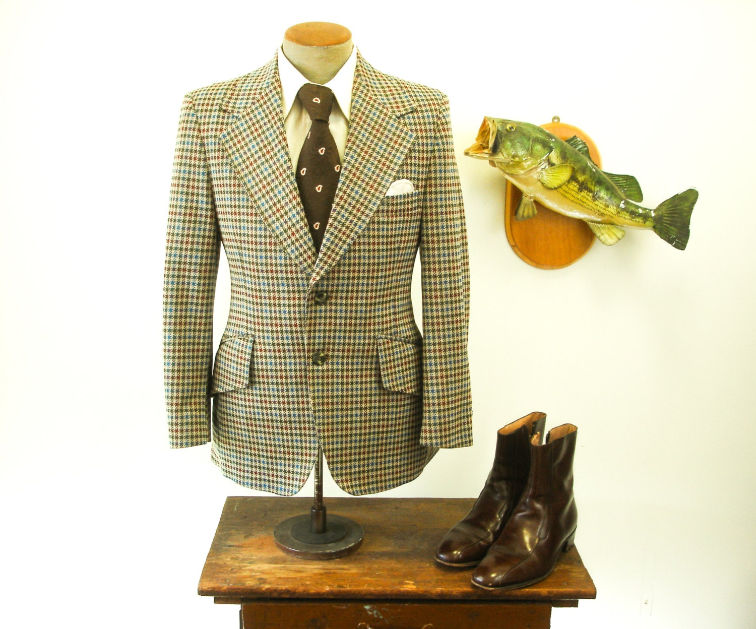 1970s SEARS Houndstooth Suit Jacket Disco Era Mens Colorful