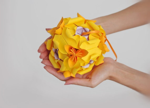 SALE 25%OFF! Spring home decor - Origami paper cube in flower petals. Light and sunny yellow kusudama.