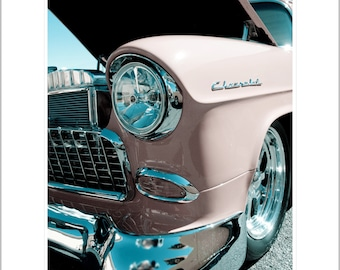Car Photography- 1950's Pink Chevrolet Photograph- 8x10 Matted Metallic Print
