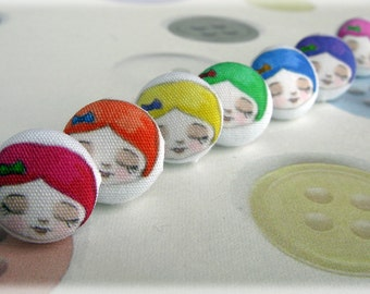 Fabric Button Earrings Cute Girl with Rainbow Coloured Hair Pair of Studs Illustration Post Earing Jewellery Buttons Faces Spectrum