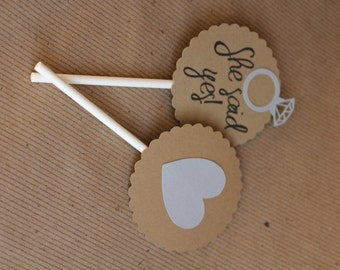 Wedding Engagement Cupcake Toppers