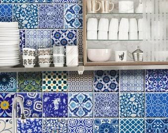 Kitchen/Bathroom Indian Jaipur Blue pottery Tile/ Wall/ Floor Decals : 22 Designs X 2= 44 Pcs