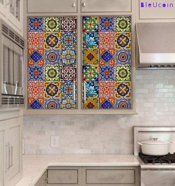 Kitchen cabinet drawer tile decal mexican talavera by bleucoin - Bathroom tiles talavera ...