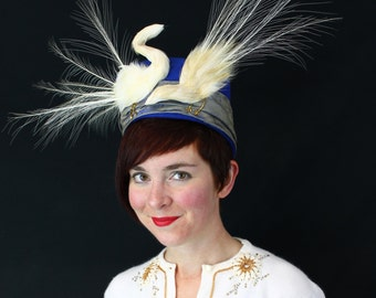 "Custom Order: ""The Mating Dance"" - Vintage 1930s/1940s-Style Blue Felt Turban with Two Faux Bird Egrets"