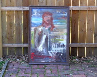 Impressionistist Painting of JESUS, Vintage Painting by a University of Pittsburgh Professor