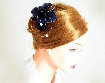 Navy blue fascinator Navy fascinator Blue hair piece Bridesmaid hair Bridal headpiece Wedding hair accessories Hair flower