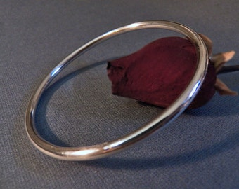 Sterling Silver Bangle - 6 gauge 4mm - Heavy - Chunky - Weighty Sophisticated Sleek Elegant Design