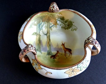 Vintage Nippon Noritake Morimura 3 Handled Hand Painted Bowl with Wildlife Scene 1911-1921 and Green Mark 21, Matte Finish, Serving Dish