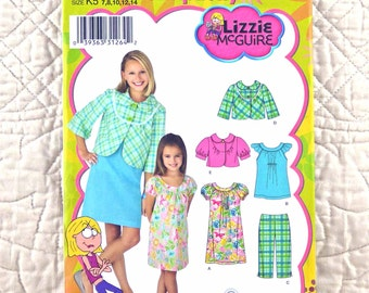 Girls, Dress Top Jacket Pants, XS S, Simplicity 3513 Pattern, Lizzie McGuire, Flutter Sleeves, 2008 Uncut, Size 3 4 5 6
