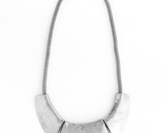 Chunky silver statement necklace, chunky silver bib necklace