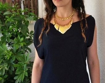 THOLOS navy blue mousseline blouse/ Asymmetric sleeves top/ Boat neckline tunic