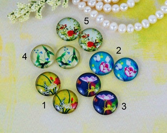 12mm,16mm,20mm Handmade photo glass cabochon cabs Mix plants flower 12B046