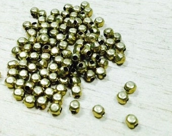200 pcs.  3 mm. Brass Spacer Beads, Circle Faceted (M 004)