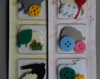 Set of 2 Felt Deco Supplies - Cat Sheep Bird Butterfly