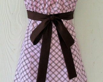 Halter Apron, Pink & Brown Plaid, Empire Waist, One Size, Handmade, KitschNStyle