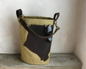 SALE Khaki Canvas Hobo Tote Side Bag Dark Brown Leather Strap and Pocket