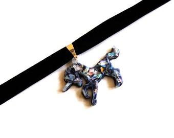 Black Velvet Choker, Opal Unicorn Choker, Opalescent Unicorn Choker, Magical Glitter 90s Jewelry