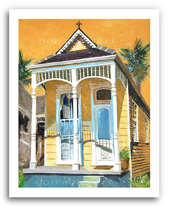 """New Orleans Garden District French Quarter Shotgun House Art 11x14"""" and 13x19"""" Print Signed and Numbered"""