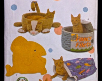 CAT BED Sewing Pattern - TUNA Can Cat Beds Pillows & Sacks Retired htf 5233