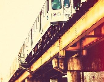Chicago Art Print - train decor, CTA Blue Line photography - Chicago train photography, urban wall art, yellow, orange, red, teal - Blue