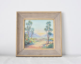 Nature Painting of Woodland Trees Vintage Small Pastel Trail Painting, Pastel Sunset Soft Rustic Landscape Painting, Painted Gold Frame,