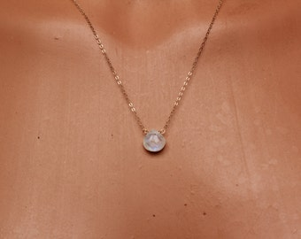 Moonstone Dainty Necklace, Moonstone Jewelry, June Birthstone, Dainty Necklace, Minimalist, Layered, Layering, Blue Flash Moonstone Necklace