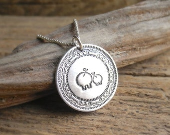 Mother and Baby Pig Necklace, New Mom Necklace, Mama Pig and Piglet, Fine Silver Pig, Sterling Silver Chain, Made To Order